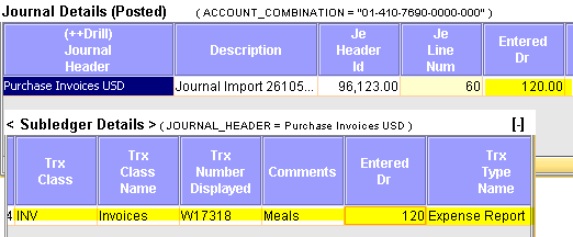 screenshot for drill into journal details