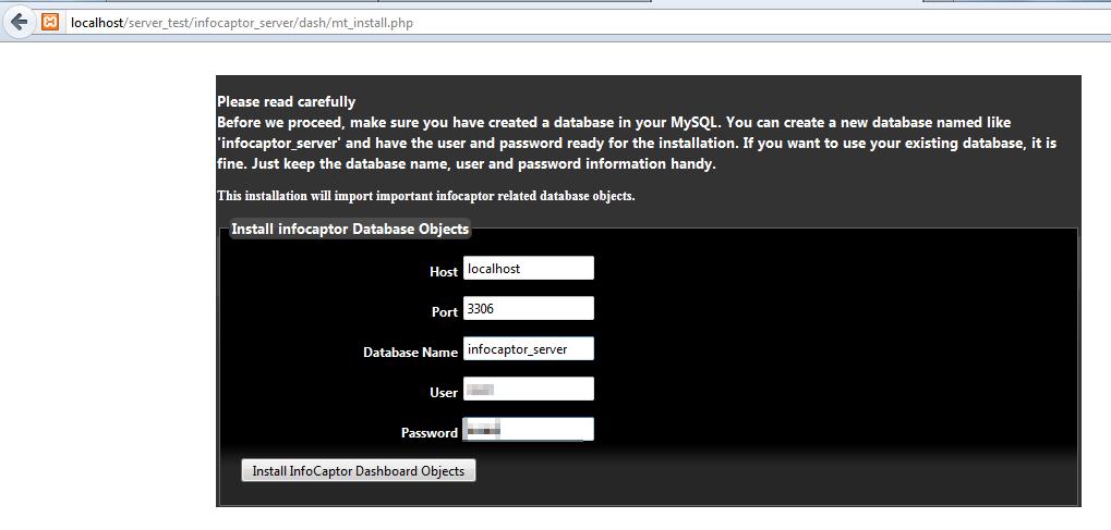 infocaptor register database install